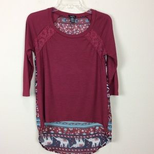 3 for $15 I Rue 21 high low elephant print tunic